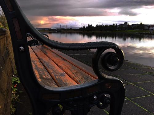 sunset island evening abend iceland sonnenuntergang reykjavik abendlicht tjörnin