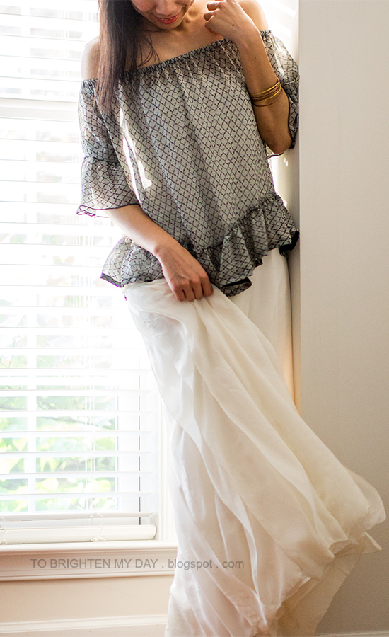 off-the-shoulder ruffled top, white dress as skirt, mixed bangles