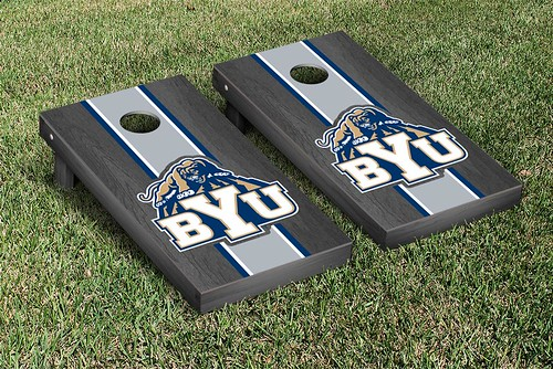 Brigham Young University BYU Cougars Cornhole Game Set Onyx Stained Stripe