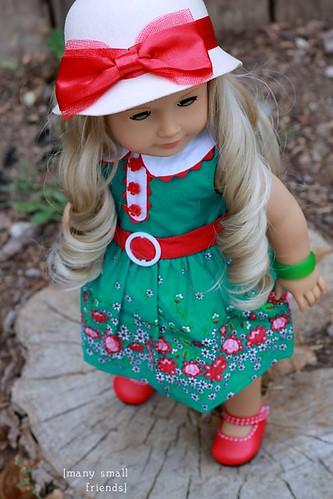 American Girl Caroline wears Kit's Beforever Meet Outfit