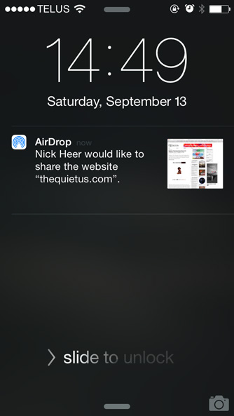 Receiving a link with AirDrop