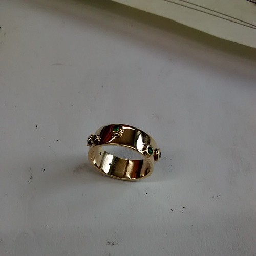 An unlikely foray into modernism! 14ct gold and emerald ring made from a customer's scrap metal and stones.