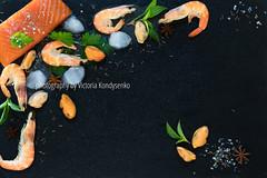 Preparing fresh seafood in the kitchen