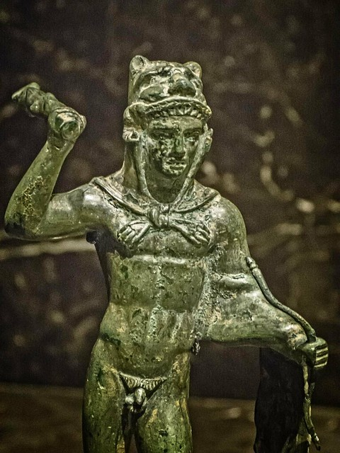 Closeup of Etruscan Statuette of Heracles Italy 4th century BCE Bronze