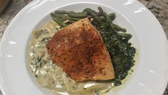 Cajun Crust Salmon Over Pasta and Spinach