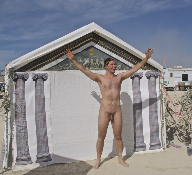 naturist wrestling camp Gymnasium 0009 Burning Man, Black Rock City, NV, USA
