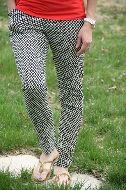 Close-up-of-Coral-Shirt-and-Black-Pants
