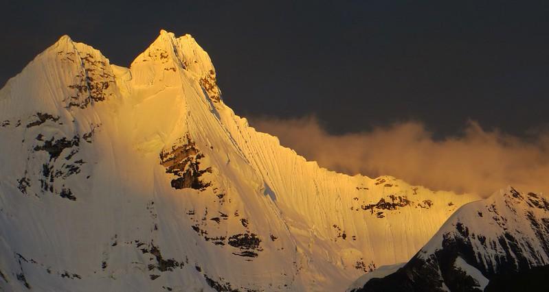 Sunset on Jirishanca (6090m), Cordillera Huayhuash.