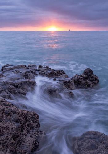 sea newzealand christchurch seascape sunrise dawn coast rocks waves taylorsmistake