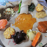 Vegetarian Platter (Yetsom Beyaynetu) in Gondar, Ethiopia