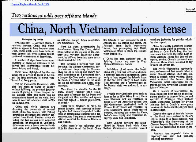 China, North Vietnam Relations Tense - Eugene Register-Guard - Oct 2, 1975