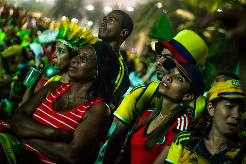 Brazil supporters watching their World Cup match against Croatia
