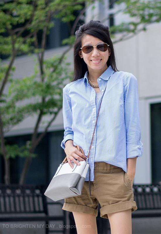 blue/white striped shirt, boyfriend chino shorts, colorblock crossbody bag