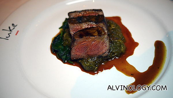 Sirloin Rangers Valley, New South Wales, 300 days grain fed, Moroccan spice, sauté spinach, eggplant puree, red wine sauce - $74++