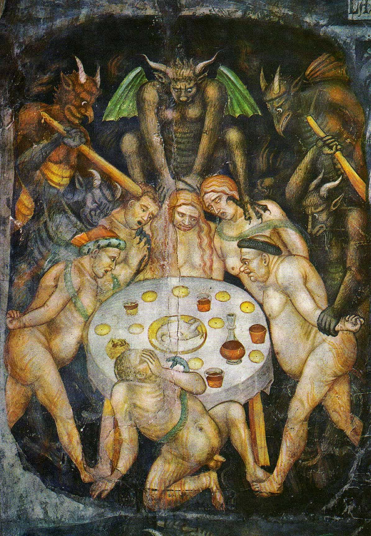 Taddeo di Bartolo - The Last Judgment  (detail of gluttony) c.1394