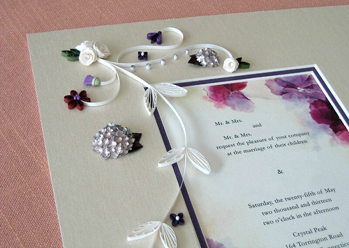 Wedding Invitation with Quilled Roses, Hydrangeas, and Thistles