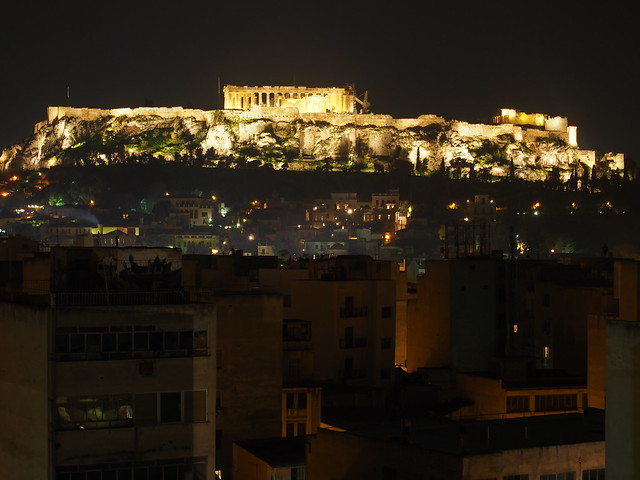 Athens - night view of the Acropolis