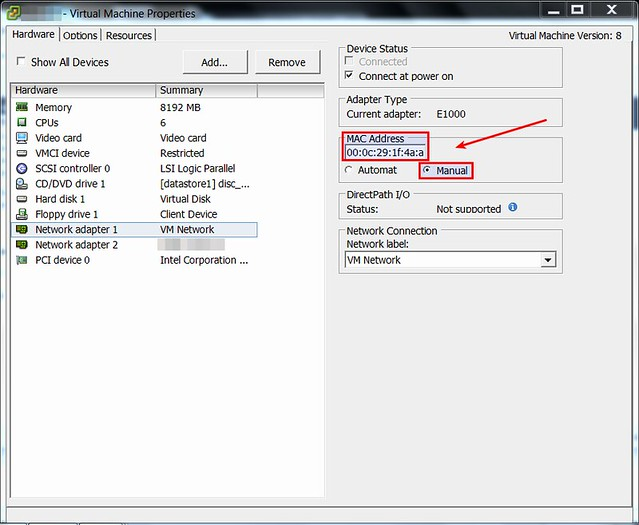 How to set a static MAC address on VMware ESXi virtual