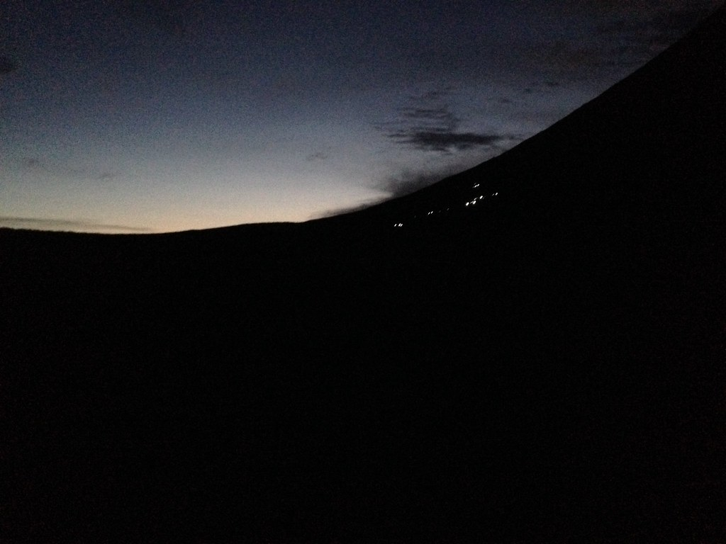 Headtorches at Dawn - on the descent from Ben Nevis