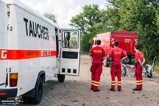 Person im Rhein Trebur 07.08.2014