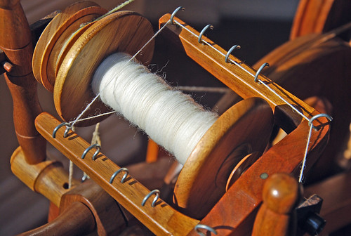 Spinning hand-combed Romney lamb's wool top on my Watson Martha