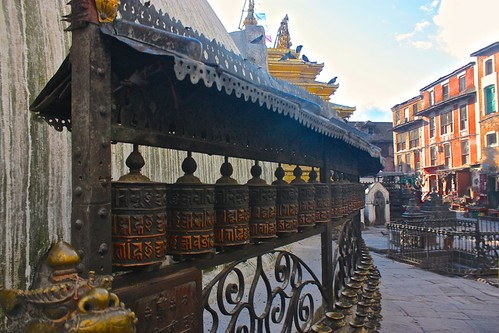 prayer wheels at Monkey Temple