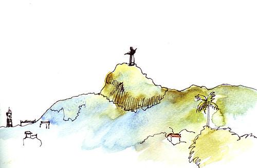 Sketch of Christo Redentor from the minivan, Rio de Janeiro, Brazil