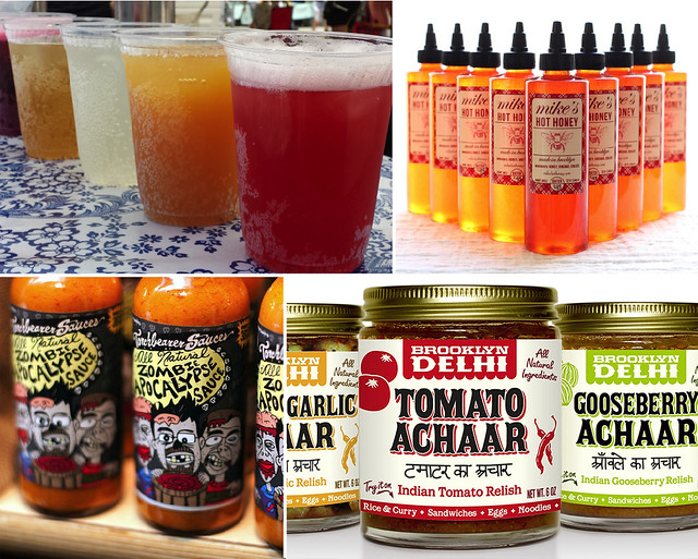 Brooklyn Soda Works (top left). Mike's Hot Honey (top right); photo by Janelle Jones. Torchbearer Sauces (bottom left). Brooklyn Delhi (bottom right).
