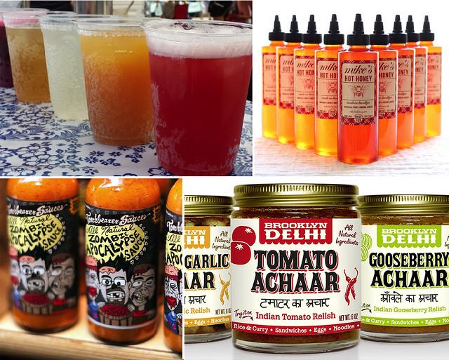 Brooklyn Soda Works (top left). Mike's Hot Honey (top right); photo by Janelle Jones. Torchbearer Sauces (bottom left). Brooklyn Delhi (bottom right).