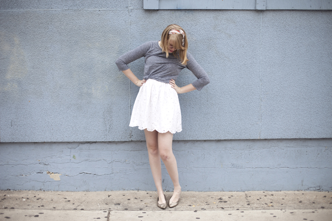 grey tee over eyelet dress