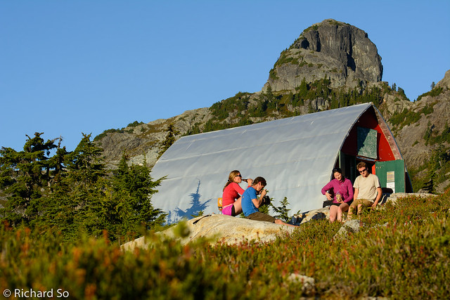 Dinner time outside the hut with Mount Sheer above