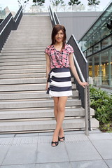 Check ruffle blouse and Marine miniskirt_3