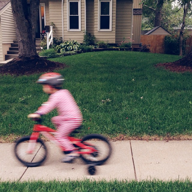 Early morning foggy bike ride with the boy in the red striped jammies. #toofast #blur #bike #tater