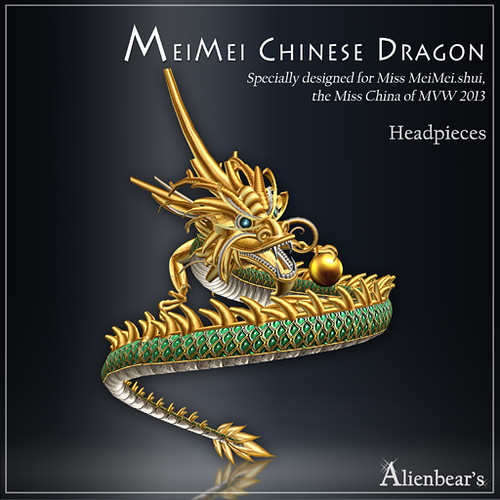 MeiMei Chinese Dragon Headpieces Jade