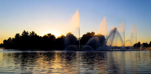 city trees sunset sky panorama sun water fountain river landscape island evening nikon cloudy ukraine quay creativecommons embankment d3200