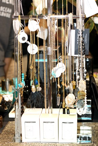 Necklaces hanging on stand)