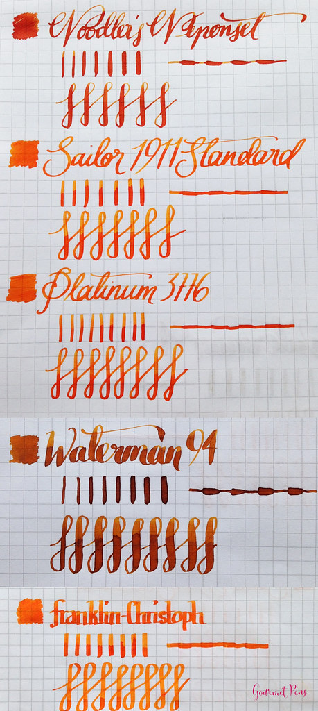 Music Nibs Writing Samples Comparison - Large
