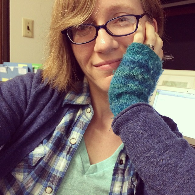 All bundled up in my totally-frigid office. Hello, Fall.