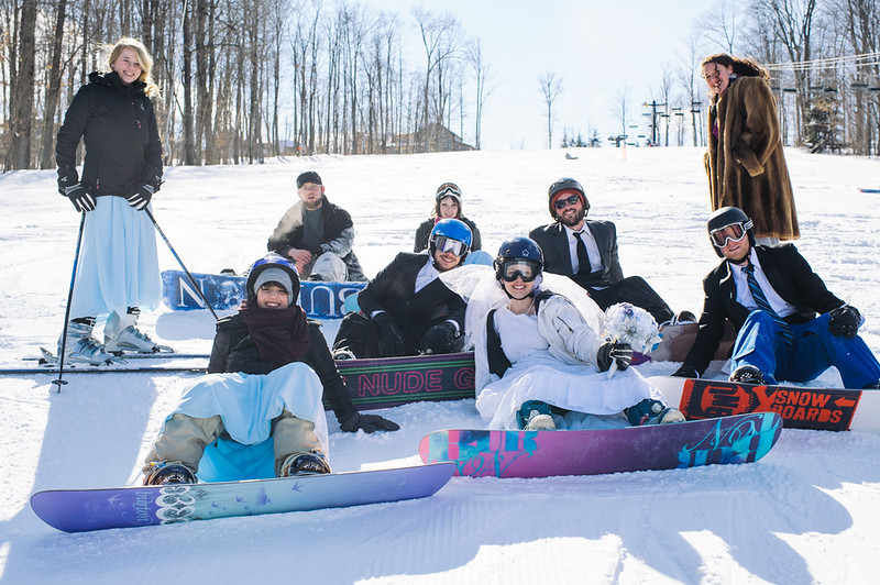 Our wedding party on the slopes