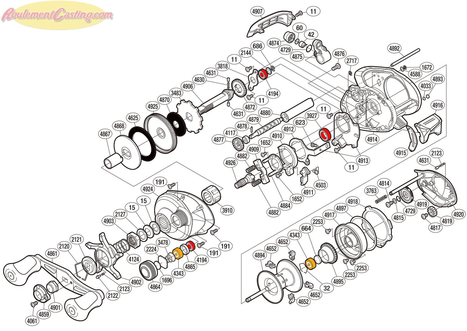 Schéma Shimano 14' Curado 201IHG
