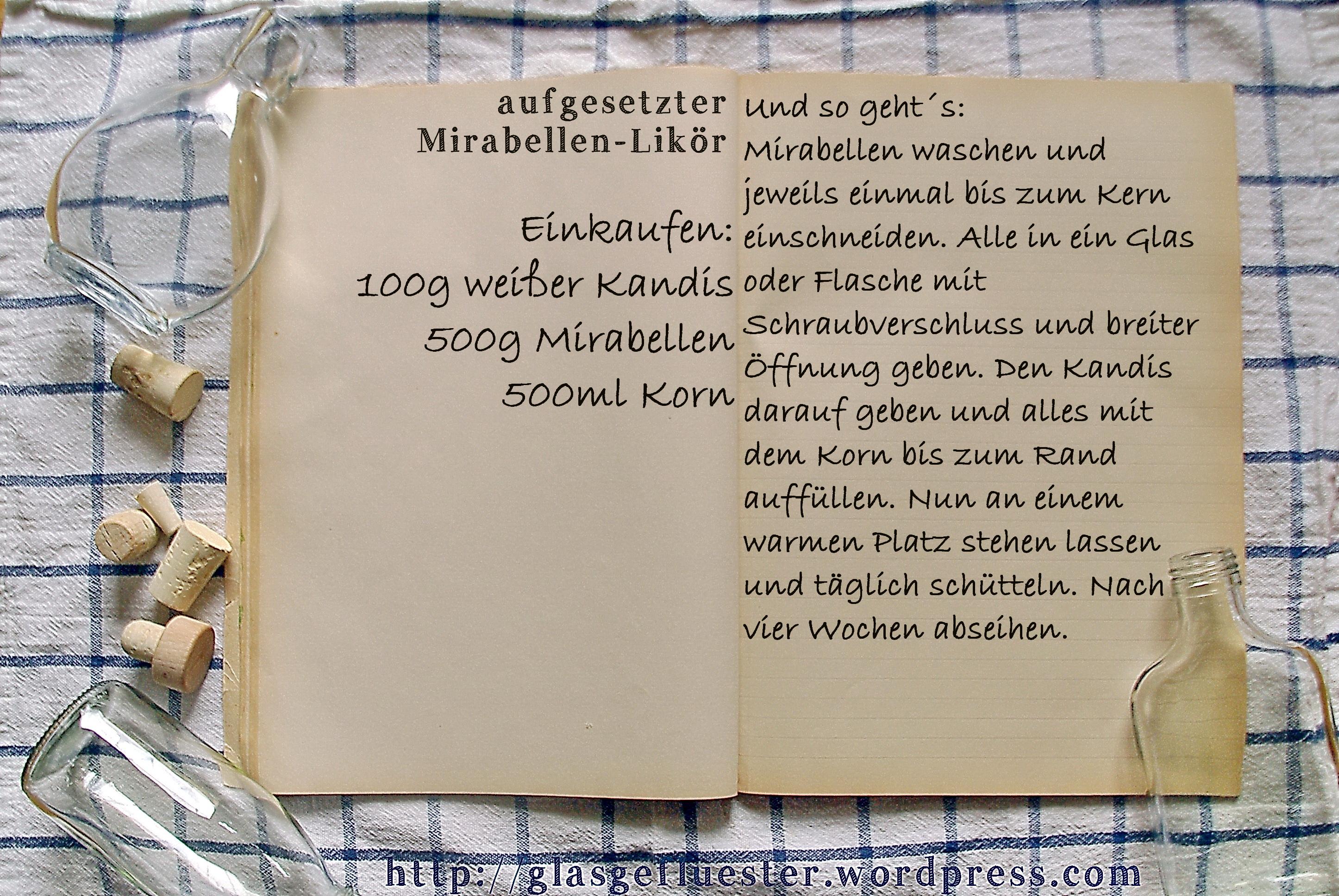 Einkaufszettel Mirabellenlikör by Glasgeflüster