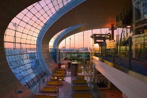dubai uae united arabic emirates airport terminal3a terminal3 concoursea gates gate interior architecture modern curved window windows ©allrightsreserved