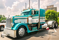 Peterbilt waits to be judged at 34th annual Shell Rotella SuperRigs truck beauty contest in Joplin Missouri