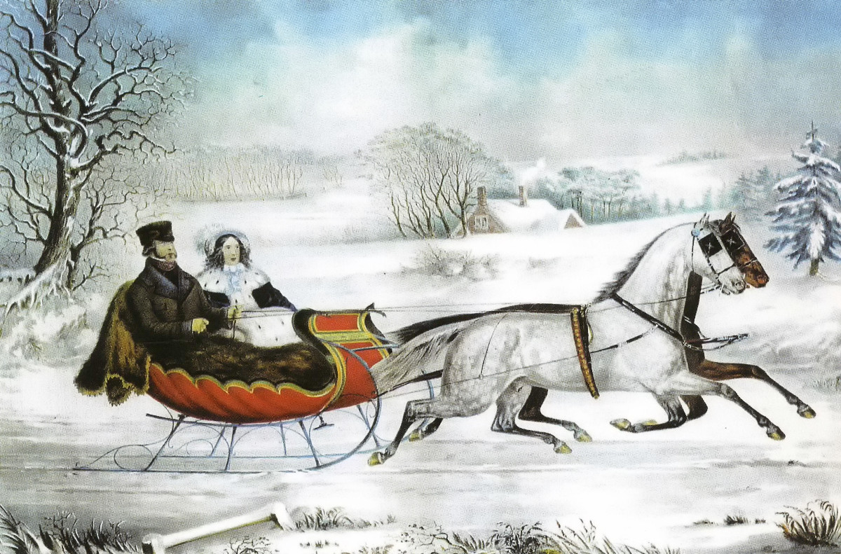 The Road - Winter by Otto Knirsch, published by Currier and Ives, 1853