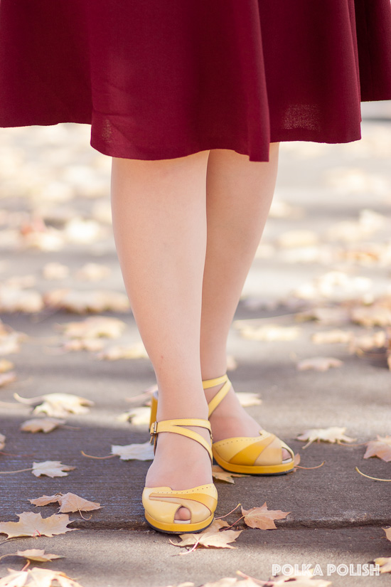 "Reproduction 1940s peep-toe wedge sandals ""Dorothy"" in three shades of yellow by Rocket Originals"
