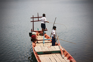 Fishing students