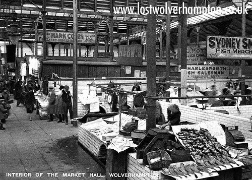 Fish on display in-between the wars in Wolverhampton's original  Retail Market, Cheapside.