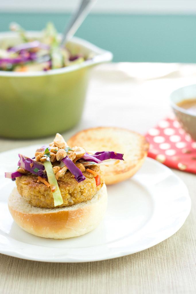 Thai Veggie Burgers with Peanut Sauce