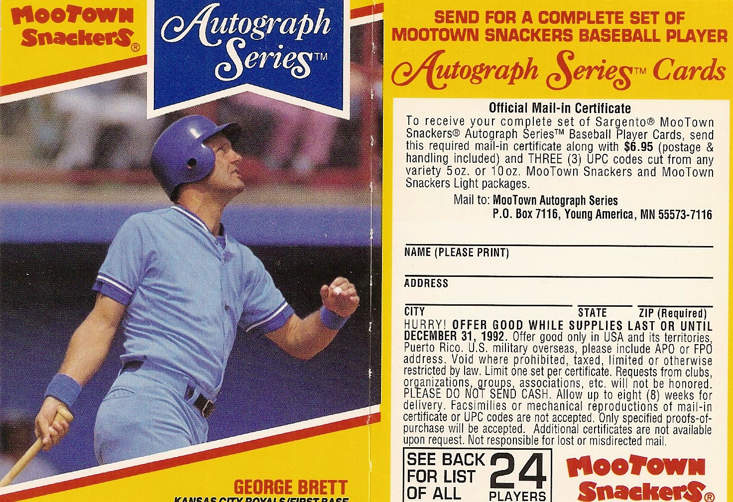 1992 Mootown Snackers with Tab (George Brett)