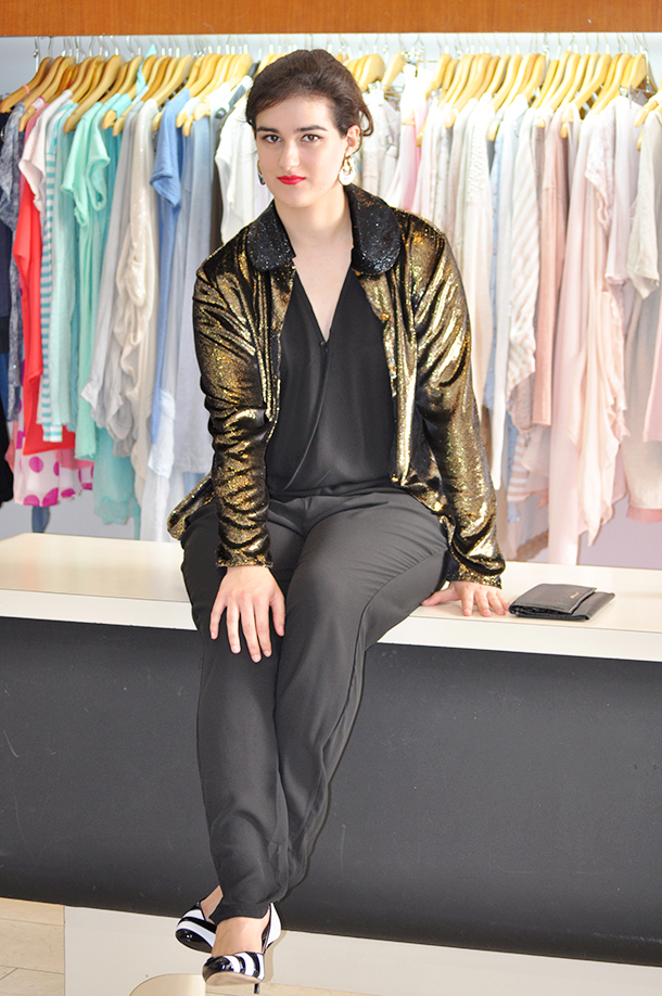 oh vintage shop el altillo showroom valencia, somethingfashion blogger 80's how to wear vintage spain, jumpsuit sparkly pertegaz karen millen rock outfit inspiration